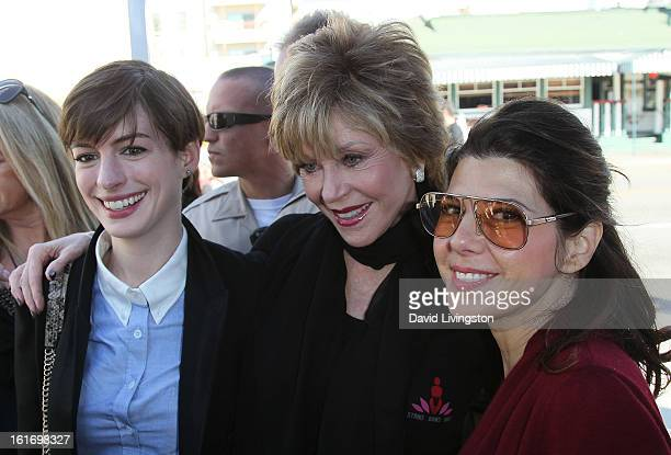 Actresses Anne Hathaway Jane Fonda and Marisa Tomei attend the kickoff for One Billion Rising in West Hollywood on February 14 2013 in West Hollywood...