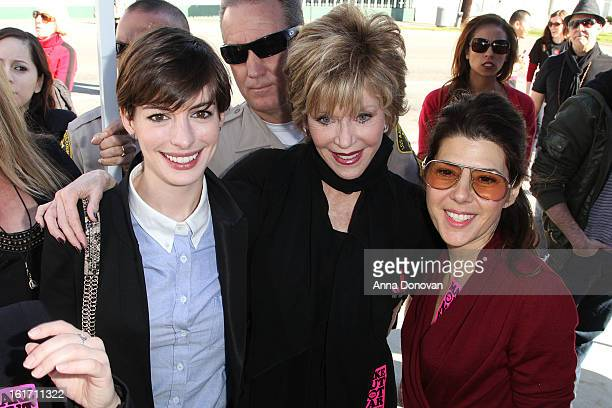 Actresses Anne Hathaway, Jane Fonda and Marisa Tomei attend the kick-off for One Billion Rising in West Hollywood on February 14, 2013 in West...