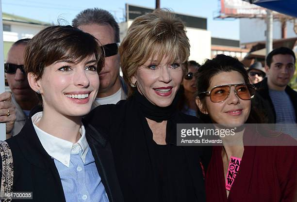 Actresses Anne Hathaway Jane Fonda and Marisa Tomei help kickoff One Billion Rising on February 14 2013 in West Hollywood California