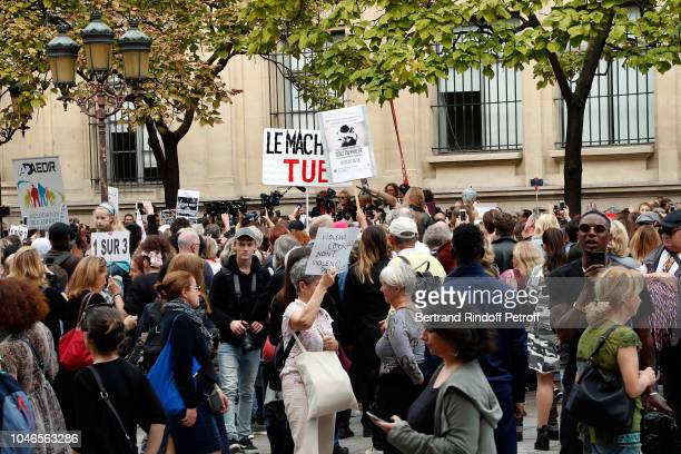 Actresses Anne le Nen Muriel Robin Eva Darlan and Politician Clementine Autain support the Battered Woman Demonstration on October 6 2018 in Paris...