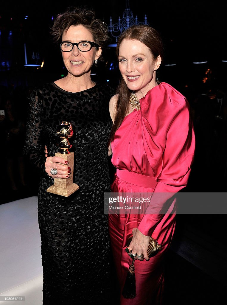 Actresses Annette Bening (L) and Julianne Moore attend NBCUniversal/Focus Features Golden Globes Viewing and After Party sponsored by Chrysler held at The Beverly Hilton hotel on January 16, 2011 in Beverly Hills, California.
