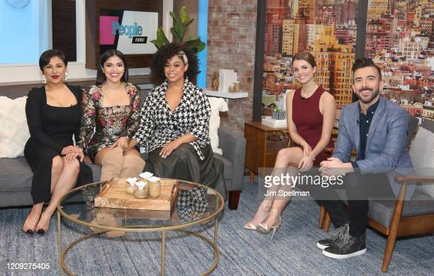 Actresses Annie Gonzalez Karrie Martin Julissa Calderon hosts Andrea Boehlke and Jeremy Parsons on the set of People TV on February 28 2020 in New...