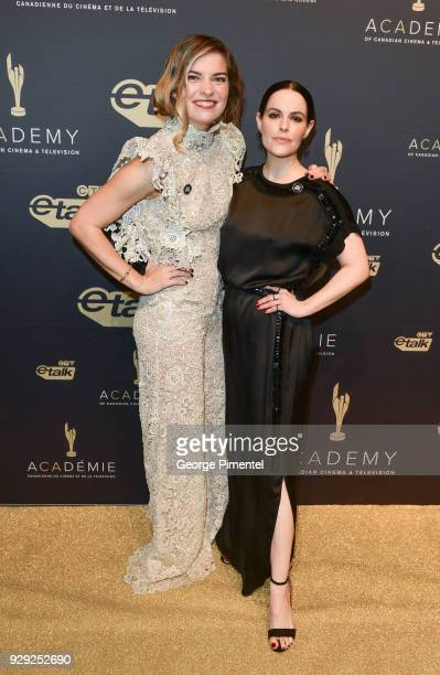 Actresses Annie Murphy and Emily Hampshire attends Gala Honouring Excellence in Creative Fiction Storytelling held at Westin Harbour Castle Hotel on...