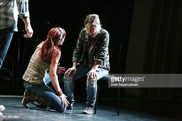 Actresses Annie Wersching and Ashley Johnson perform onstage during The Last of Us One Night Live reading and performance at The Broad Stage on July...