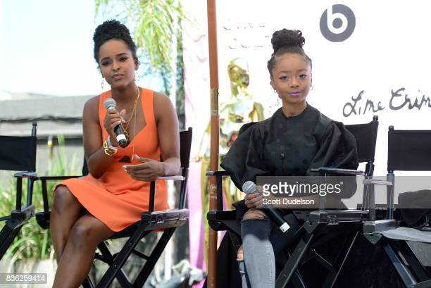 Actresses Antoinette Robertson and Skai Jackson appear onstage during the GIRL CULT Festival at The Fonda Theatre on August 20 2017 in Los Angeles...