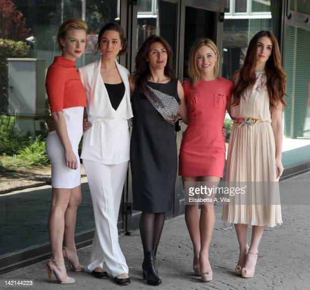 Actresses Antonia Liskova Alissa Jung Antonella Attili Alice Bellagamba and Paz Vega attend 'Maria di Nazaret' TV series photocall at Rai Viale...