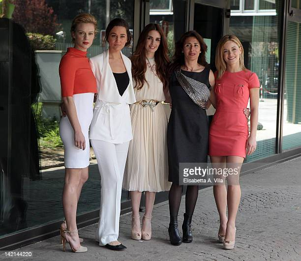 Actresses Antonia Liskova Alissa Jung Paz Vega Antonella Attili and Alice Bellagamba attend 'Maria di Nazaret' TV series photocall at Rai Viale...