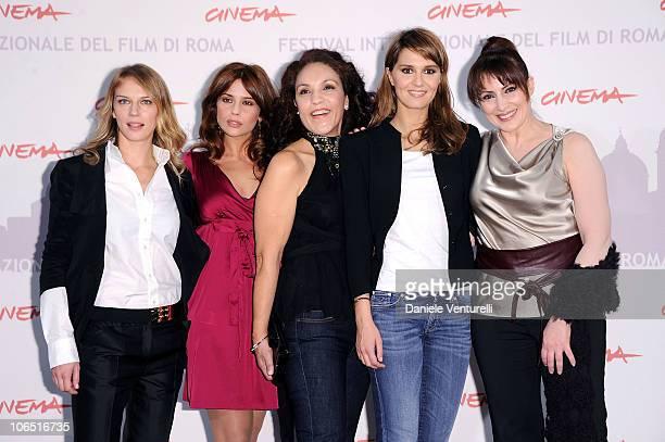 Actresses Antonia Liskova Valentina D'agostino Farida Rahouadj Paola Cortellesi and Daniela Giordano attend the Le Cose Che Restano Photocall during...