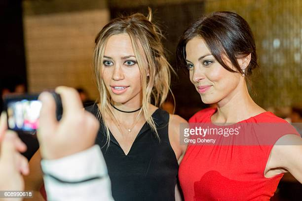 Actresses Aqueela Zoll and Vlada Verevko pose for pictures as they attend the Premiere Of Studio 71's 'Rush Inspired By Battlefield' after party at...