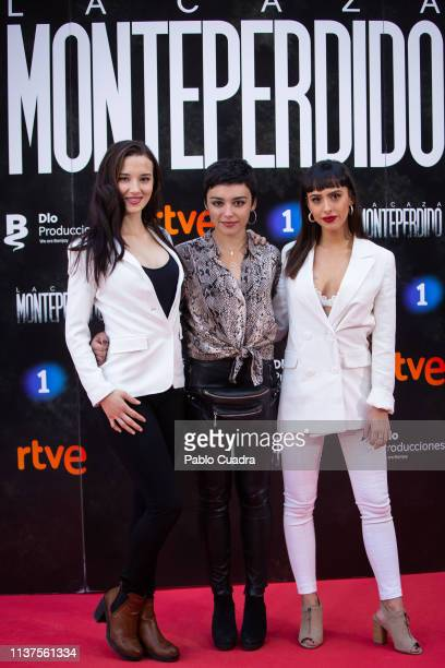 Actresses Aria Bedmar Carla Diaz and Laura Moray attend the 'La Caza Monteperdido' photocall on March 22 2019 in Madrid Spain