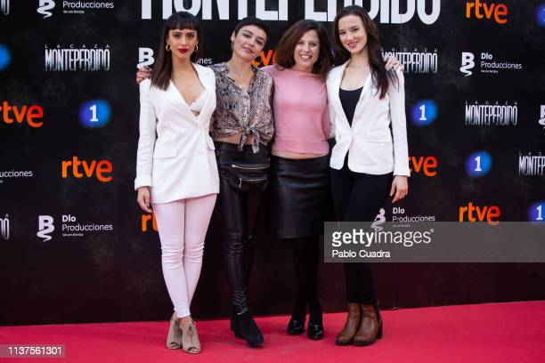 Actresses Aria Bedmar Carla Diaz Bea Segura and Laura Moray attend the 'La Caza Monteperdido' photocall on March 22 2019 in Madrid Spain