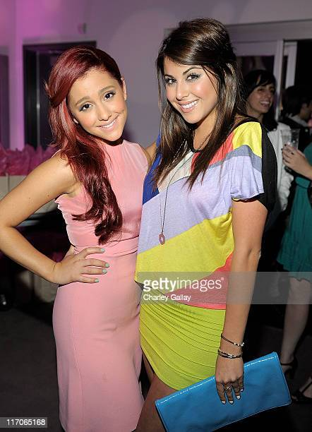 Actresses Ariana Grande and Daniella Monet attend Miranda Cosgrove's 18th birthday party at Siren Studios on June 11 2011 in Hollywood California