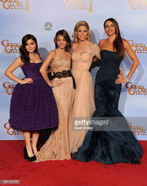 Actresses Ariel Winter Sarah Hyland Julie Bowen Sofia Vergara pose in the press room with the Best Television Series Musical or Comedy award for...