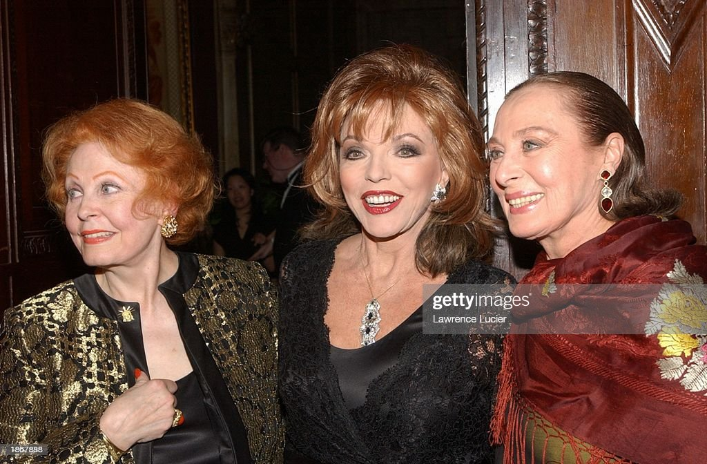 Actresses Arlene Dahl, Joan Collins and Rita Gamm arrive at the official Academy of Motion Picture Arts & Sciences Oscar Night Viewing Party at Le Cirque 2000 restaurant March 23, 2003 in New York City.