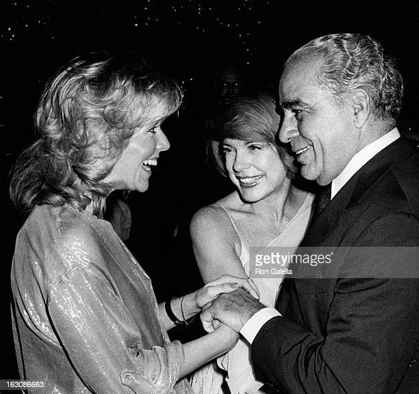 Actresses Arlene Golonka and Terry Moore and businessman Charles Rebozo attend Celebrity Ball on November 18 1978 at the Superstar Theater at Resorts...