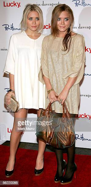 Actresses Ashley and Mary Kate Olsen arrive at the Miss Davenporte Trunkshow hosted by the Olsen's and Lucky Magazine at Ron Herman November 17 2005...
