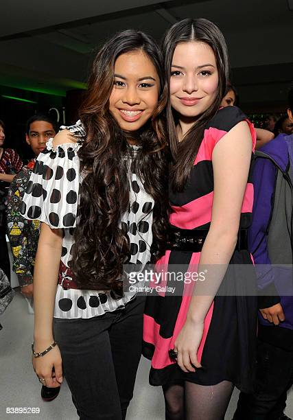 Actresses Ashley Argota and Miranda Cosgrove attend the after party for Merry Christmas Drake Josh at the Westside Pavillion on December 2 2008 in...