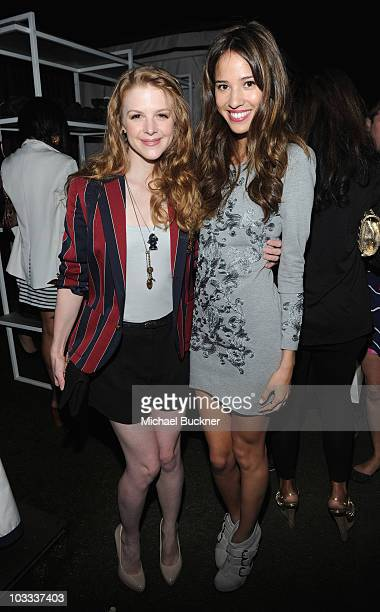 Actresses Ashley Bell and Kelsey Chow attends the NYLON Magazine Denim Issue Launch Party hosted by Drew Barrymore at The London Hotel on August 10...