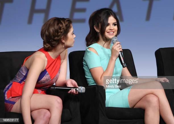 Actresses Ashley Benson and Selena Gomez speak onstage at Break It Down Harmony Korine His Spring Breakers during the 2013 SXSW Music Film...