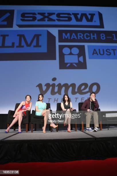 Actresses Ashley Benson Selena Gomez and Rachel Korine and director Harmony Korine speak onstage at Break It Down Harmony Korine His Spring Breakers...
