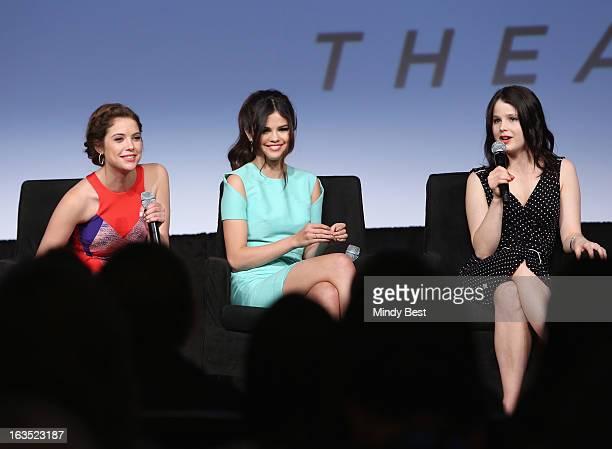 Actresses Ashley Benson Selena Gomez and Rachel Korine speak onstage at Break It Down Harmony Korine His Spring Breakers during the 2013 SXSW Music...