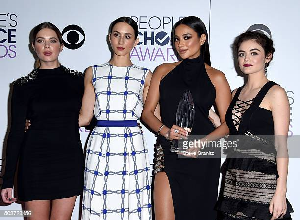 Actresses Ashley Benson Troian Bellisario Shay Mitchell and Lucy Hale pose in the press room during the People's Choice Awards 2016 at Microsoft...