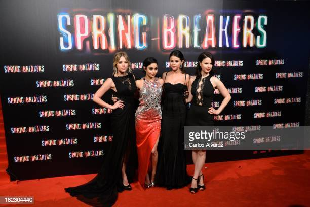Actresses Ashley Benson Vanessa Hudgens Selena Gomez and Rachel Korine attend the Spring Breakers premiere at the Callao cinema on February 21 2013...