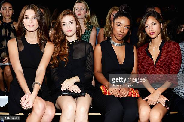 Actresses Ashley Greene, Holland Roden, musician Lianne La Havas and actress Kelsey Chow attend the DKNY Women's Spring 2013 fashion show during...
