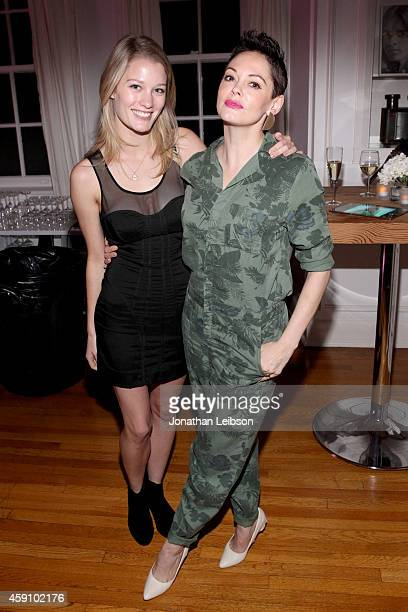Actresses Ashley Hinshaw and Rose McGowan attend The Art Of Elysium's 2015 HEAVEN PreEvent Dinner presented by Samsung Galaxy on November 16 2014 in...