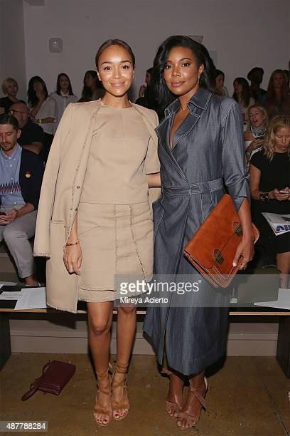 Actresses Ashley Madekwe and Gabrielle Union Wade attend the Wes Gordon fashion show during Spring 2016 MADE Fashion Week at Milk Studios on...