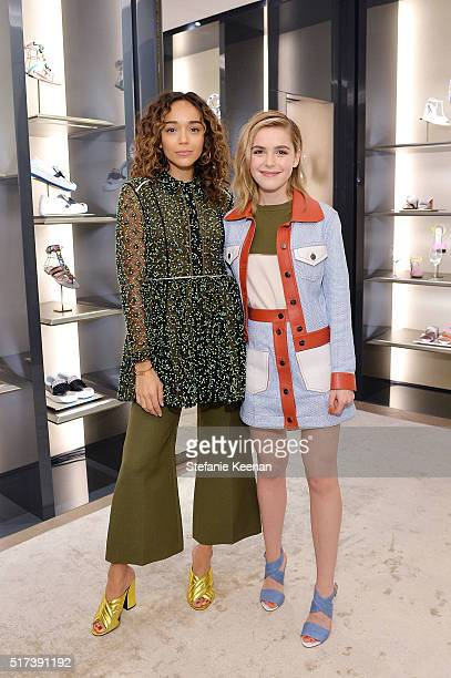 Actresses Ashley Madekwe and Kiernan Shipka attend Fendi And Vogue Celebrate Fendi Beverly Hills at Fendi on March 24 2016 in Beverly Hills California