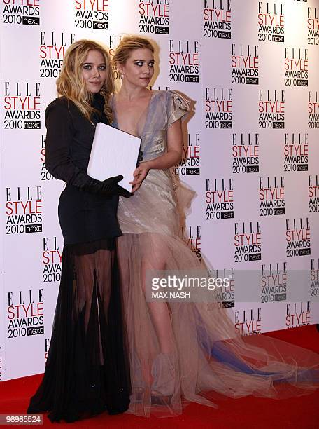 US actresses Ashley Olsen and her sister MaryKate Olsen pose at the post awards ceremony after winning the Style Icons Award at the 2010 Elle Awards...