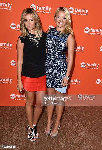Actresses Ashley Tisdale and Emily Osment attend the Disney/ABC Television Group 2014 Television Critics Association Summer Press Tour at The Beverly...