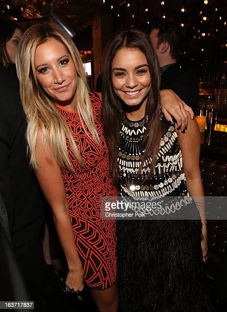 Actresses Ashley Tisdale and Vanessa Hudgens attend the 'Spring Breakers' premiere after party at The Emerson Theatre on March 14 2013 in Hollywood...