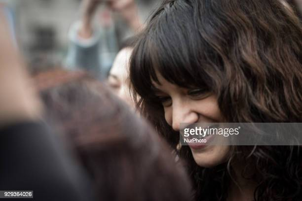 Actresses Asia Argento participate in a demonstration to mark the international Women's Day in Rome Thursday March 8 2018 Asia Argento an Italian...