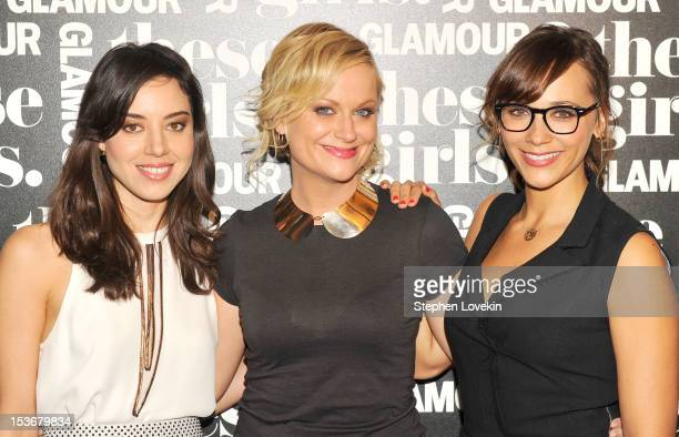 Actresses Aubrey Plaza Amy Poehler and Rashida Jones of 'Parks and Recreation' attend Glamour Presents 'These Girls' at Joe's Pub on October 8 2012...