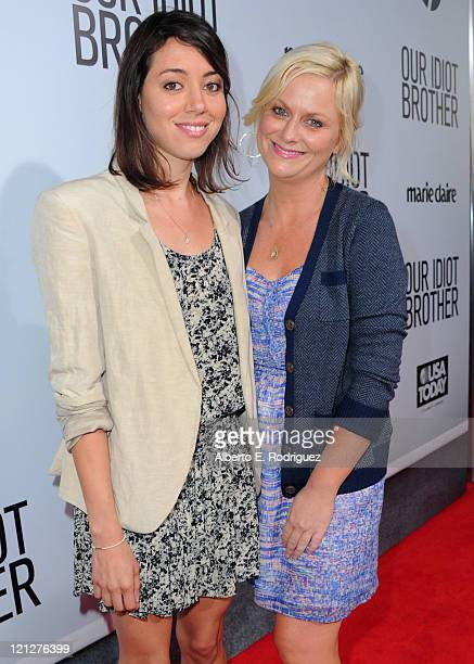 Actresses Aubrey Plaza and Amy Poehler arrive to the premiere of The Weinstein Company's Our Idiot Brother on August 16 2011 in Los Angeles California