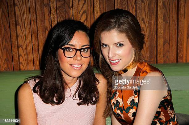 Actresses Aubrey Plaza and Anna Kendrick attend Vogue's Triple Threats dinner hosted by Sally Singer and Lisa Love at Goldie's on April 3 2013 in Los...
