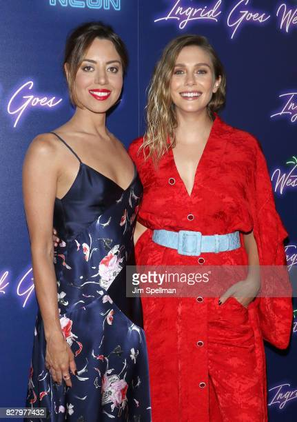 Actresses Aubrey Plaza and Elizabeth Olsen attend The New York premiere of 'Ingrid Goes West' hosted by Neon at Alamo Drafthouse Cinema on August 8...