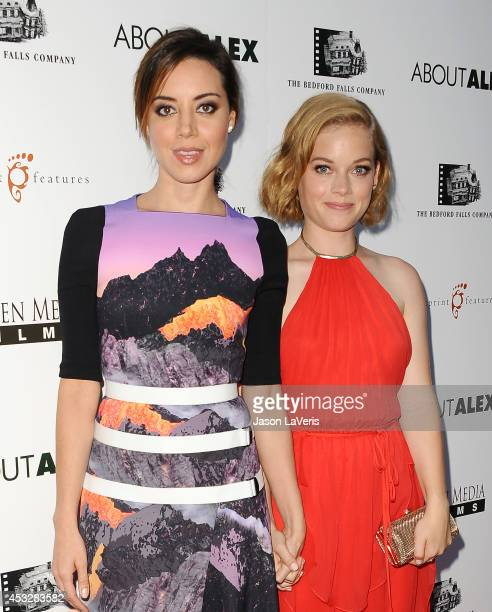 Actresses Aubrey Plaza and Jane Levy attend the premiere of 'About Alex' at ArcLight Hollywood on August 6 2014 in Hollywood California