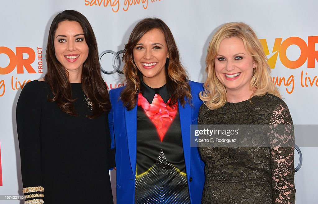 Actresses Aubrey Plaza, Rashida Jones and Amy Poehler arrive to The Trevor Project's 'Trevor Live' event honoring singer Katy Perry at the Hollywood Palladium on December 2, 2012 in Hollywood, California.