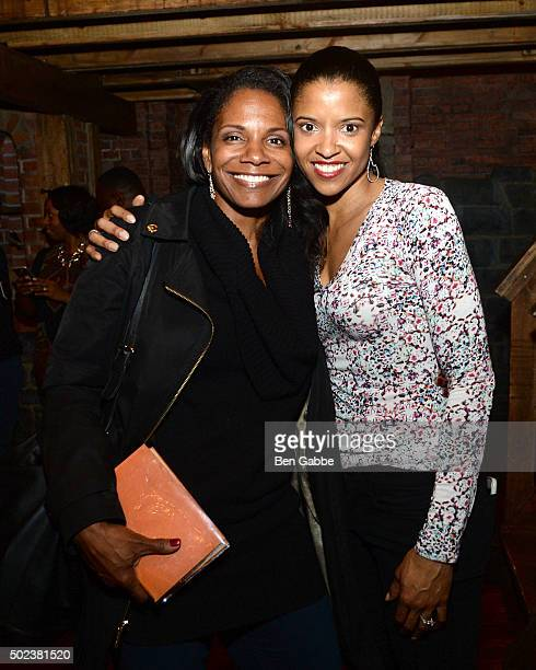 Actresses Audra McDonald and Renee Elise Goldsberry attend Broadway's Hamilton at Richard Rodgers Theatre on December 23 2015 in New York City