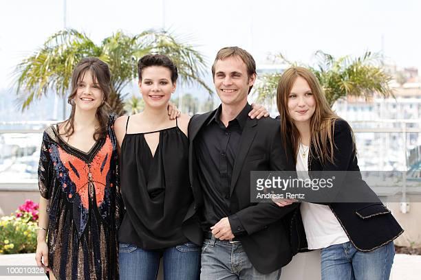 Actresses Audrey BastienSelma El Moussi director Fabrice Gobert and actress Ana Girardot attend the 'Lights Out' Photocall at the Palais des...