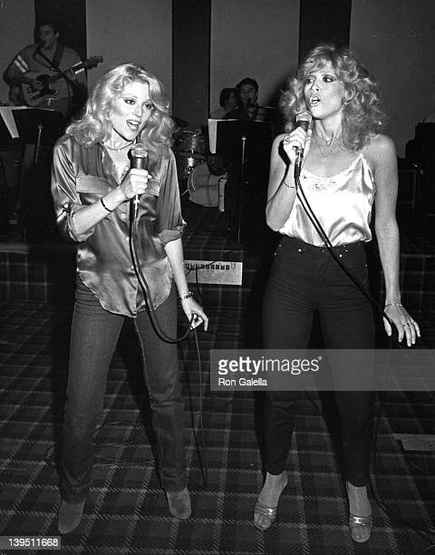 Actresses Audrey Landers and Judy Landers attend The Landers Sisters Concert Rehearsals on May 4 1983 at Modern Music Recording Studios in Hollywood...