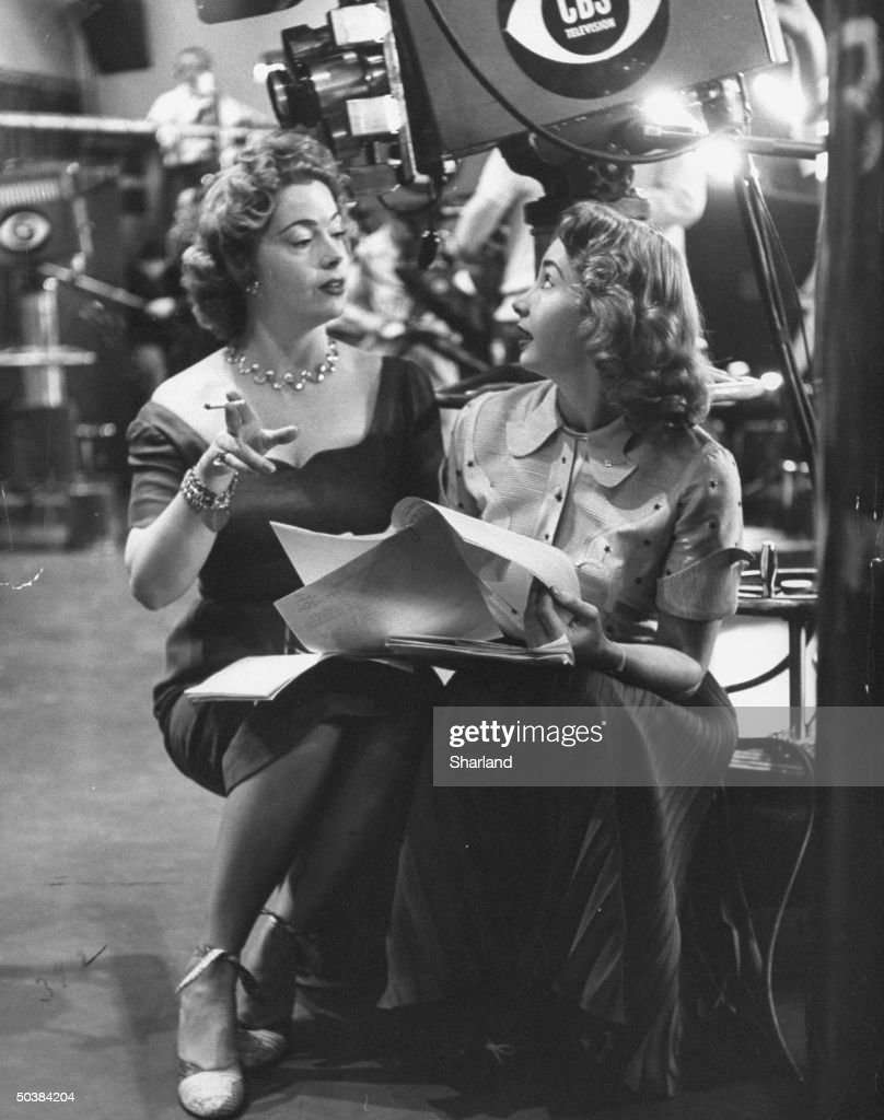 Actresses Audrey Meadows (R) with her sister Jayne Meadows on set.