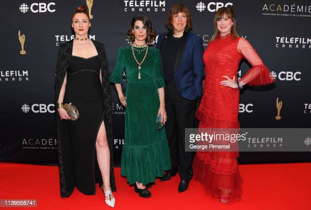 Actresses Aurora Browne Meredith MacNeill Carolyn Taylor and Jennifer Whalen attend the 2019 Canadian Screen Awards Broadcast Gala at Sony Centre for...