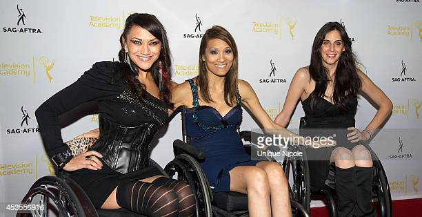 Actresses Auti Angel Angela Rockwood and Mia Schaikewitz attend the Television Academy and SAGAFTRA Presents Dynamic Diverse A 66th Emmy Awards...