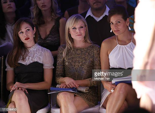 Actresses Autumn Reeser Kristen Bell and Constance Marie backstage and frontrow at Elsie Katz Spring 2008 collection during Los Angeles Mercedes Benz...