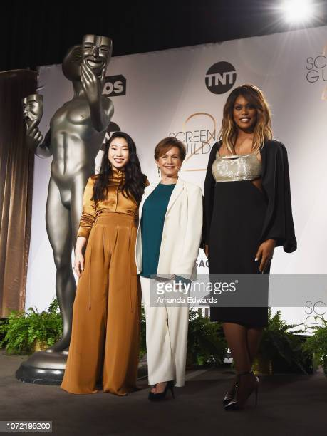 Actresses Awkwafina Gabrielle Carteris and Laverne Cox attend the 25th Annual Screen Actors Guild Awards nominations announcement at the Pacific...