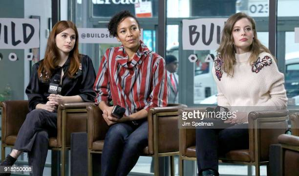 Actresses Aya Cash Eisa Davis and Gillian Jacobs attend the Build Series to discuss 'Kings' at Build Studio on February 14 2018 in New York City